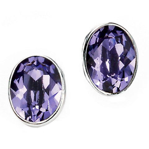 Purple Swarovski Crystal Ovals Stud Earrings