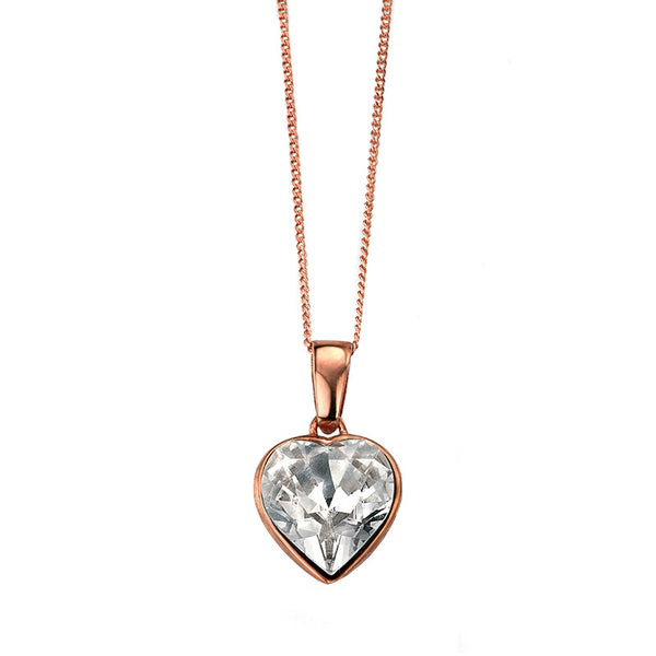 Rose Gold Plate Swarovski Heart Drop Necklace from the Necklaces collection at Argenteus Jewellery
