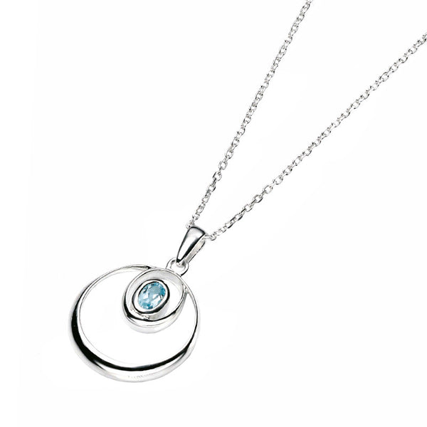 Blue Topaz Oval Swirl Drop Necklet from the Necklaces collection at Argenteus Jewellery