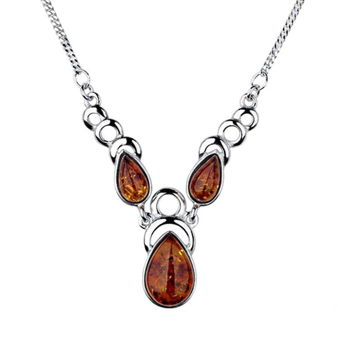 Amber Teardrops And Circles Necklace from the Necklaces collection at Argenteus Jewellery