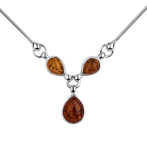 Amber Teardrops Necklace from the Necklaces collection at Argenteus Jewellery