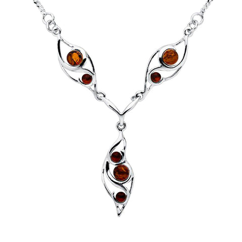 Amber Leaf Beads Necklace from the Necklaces collection at Argenteus Jewellery