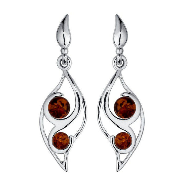 Amber Leaf Beads Earrings from the Earrings collection at Argenteus Jewellery