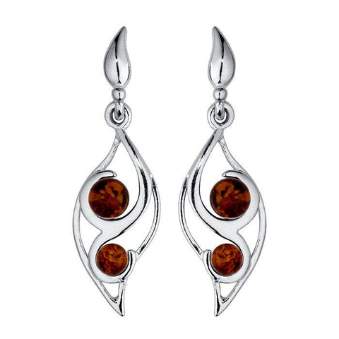 Amber Leaf Beads Earrings