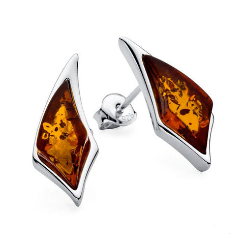 Amber Diamond Swoops Stud Earrings