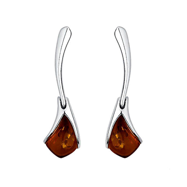 Amber Kite Shape Hinged Stud Earrings from the Earrings collection at Argenteus Jewellery