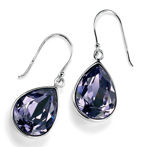 Purple Swarovski Crystal Teardrop Earrings from the Earrings collection at Argenteus Jewellery