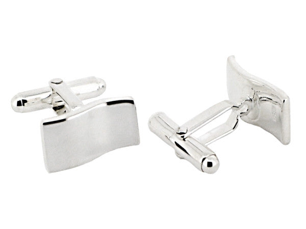 Sterling Silver Rectangle Wave Cufflinks from the Cufflinks collection at Argenteus Jewellery