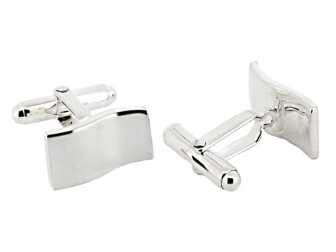 Sterling Silver Rectangle Wave Cufflinks