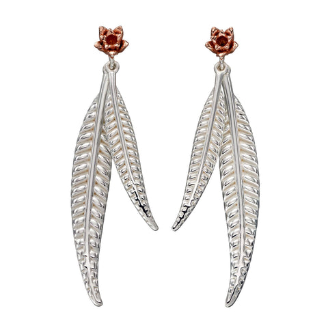 Leaf and Flower Drop Earrings from the Earrings collection at Argenteus Jewellery