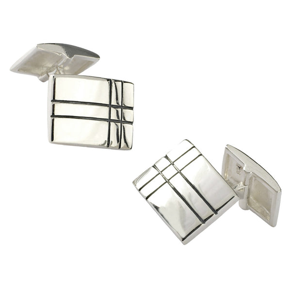 Sterling Silver Black Grid Lines Cufflinks from the Cufflinks collection at Argenteus Jewellery