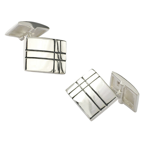 Sterling Silver Black Grid Lines Cufflinks