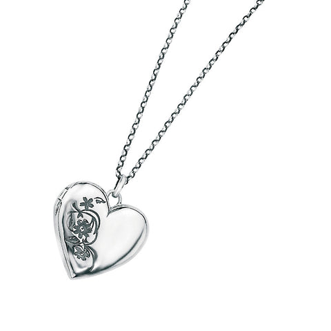 Flower Etched Locket Necklace from the Necklaces collection at Argenteus Jewellery