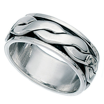 Mens Plait Rotating Ring