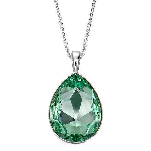 Sea Green Swarovski Drop Necklace from the Necklaces collection at Argenteus Jewellery