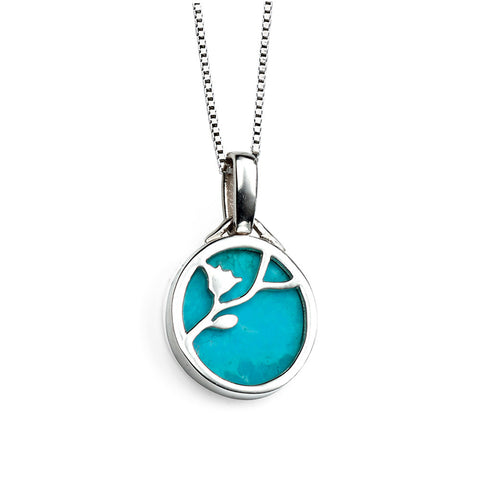 Turquoise Round Drop Necklace from the Necklaces collection at Argenteus Jewellery