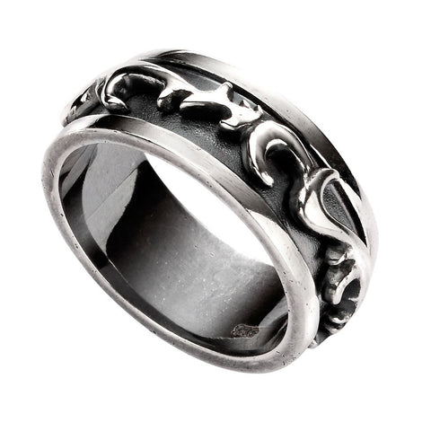 Mens Oxidised Silver Raised Pattern Ring