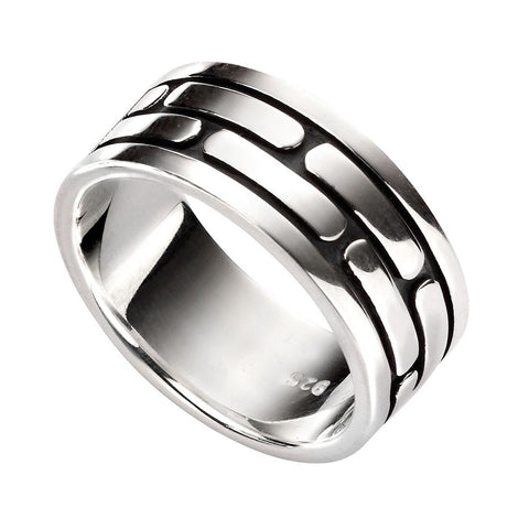 Mens Long Rectangles Pattern Ring from the Rings collection at Argenteus Jewellery