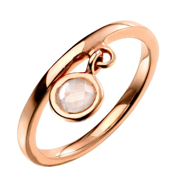 Round Rose Quartz Charm Ring from the Rings collection at Argenteus Jewellery