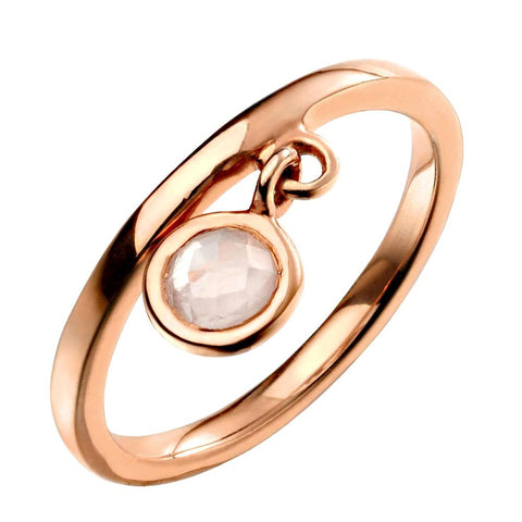 Round Rose Quartz Charm Ring