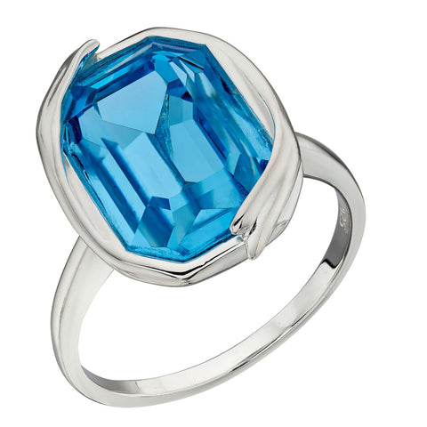 Octagon Swarovski Blue Crystal Ring