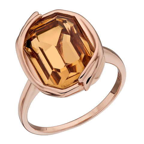 Octagon Swarovski Champagne Crystal Ring from the Rings collection at Argenteus Jewellery