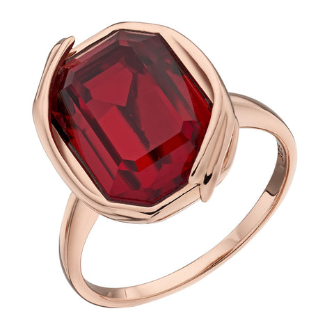 Octagon Swarovski Red Crystal Ring