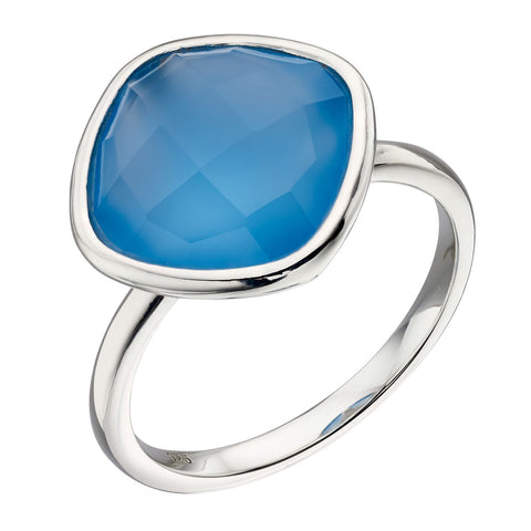 Chalcedony Blue Ring