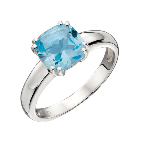 Lucent Square Blue Topaz Ring