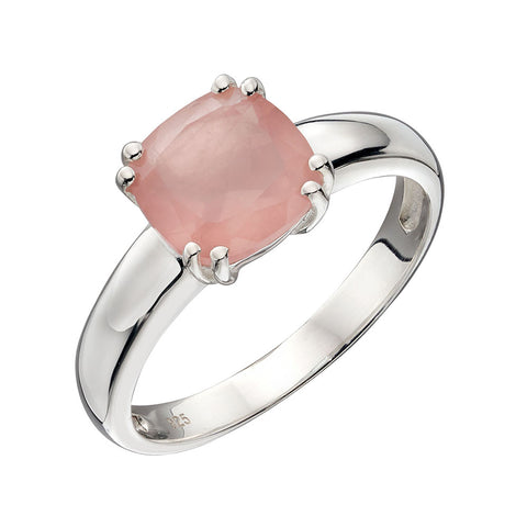 Lucent Square Rose Quartz Ring