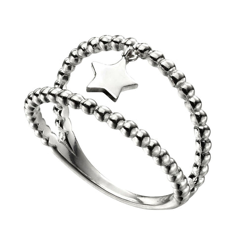 Double Bead Ring - Star Charm from the Rings collection at Argenteus Jewellery