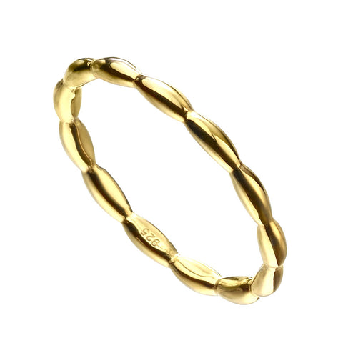 Oval Beads Ring - Gold Plate