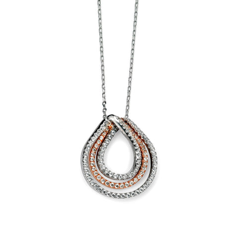Rose Gold Plate Twist Teardrop Necklace from the Necklaces collection at Argenteus Jewellery