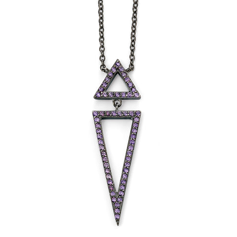 Purple Crystal Arrow Drop Necklace from the Necklaces collection at Argenteus Jewellery