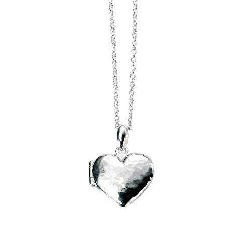 Heart Locket Necklace - Hammer Finish from the Necklaces collection at Argenteus Jewellery
