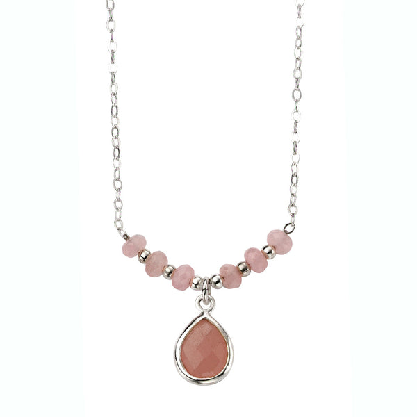 Pink Jade Teardrop Necklace
