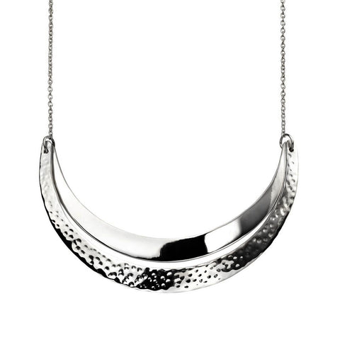 Curved Crescents Necklace - Hammer Finish from the Necklaces collection at Argenteus Jewellery