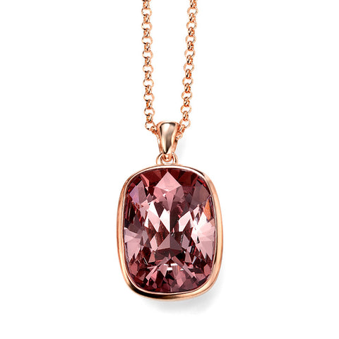 Rose Pink Swarovski Crystal Necklace from the Necklaces collection at Argenteus Jewellery