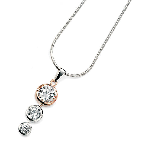 Rose Gold Plate Crystal Drop Silver Necklace from the Necklaces collection at Argenteus Jewellery