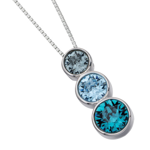 Trio Swarovski Blue Crystals Necklace from the Necklaces collection at Argenteus Jewellery