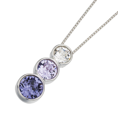 Trio Swarovski Purple Crystal Necklace
