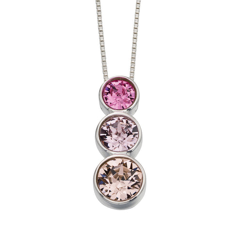 Trio Swarovski Rose Crystals Necklace