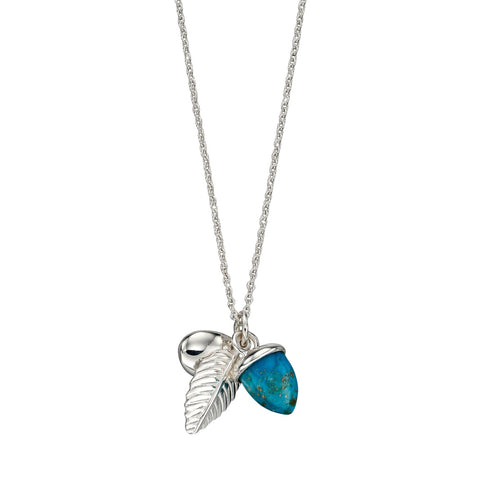 Acorn and Leaf Necklace - Turquoise