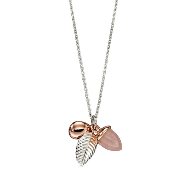 Acorn and Leaf Necklace - Rose Quartz from the Necklaces collection at Argenteus Jewellery