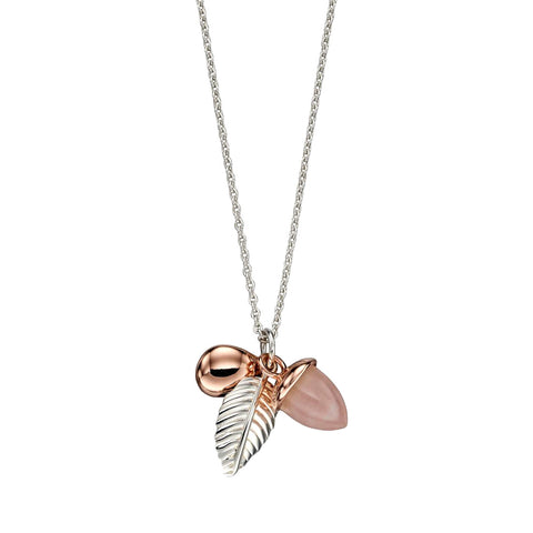 Acorn and Leaf Necklace - Rose Quartz