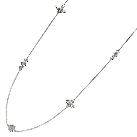 Bee And Honeycomb Crystal Necklace from the Necklaces collection at Argenteus Jewellery