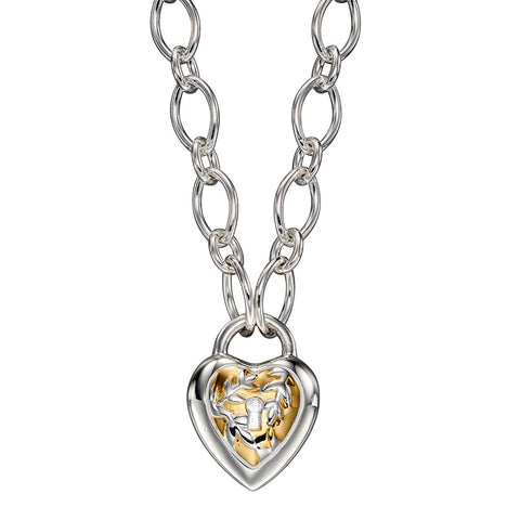 Tapestry Heart Padlock Necklace from the Necklaces collection at Argenteus Jewellery