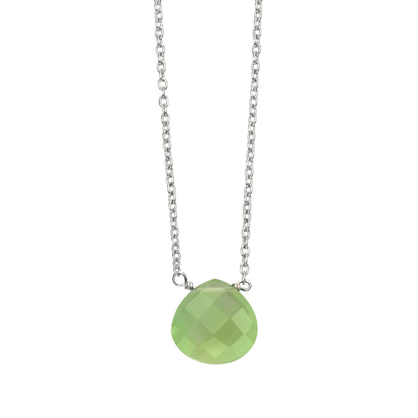 Chunky Teardrop Necklace - Green Chalcedony from the Necklaces collection at Argenteus Jewellery