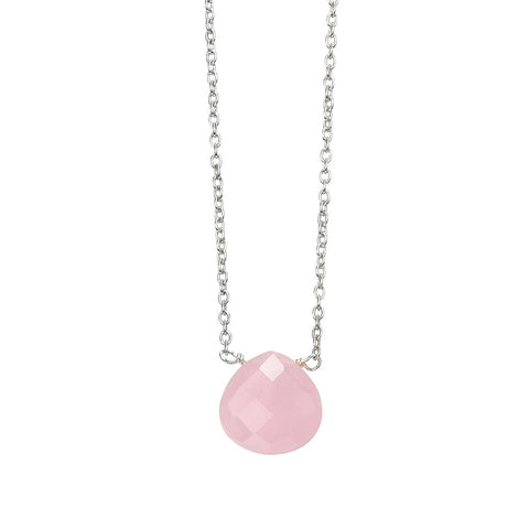 Chunky Teardrop Necklace - Rose Quartz