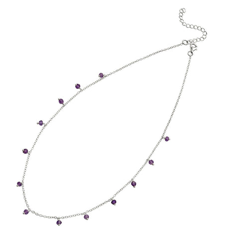 Stone Beads Necklace - Purple Amethyst